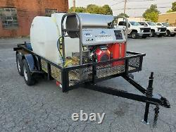 Hot Water Pressure Washer Trailer Mounted-8gpm, 4000psi-Honda GX690