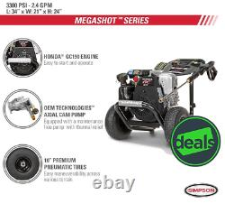 MegaShot 3300 PSI at 2.4 GPM HONDA GC190 Cold Water Pressure Washer, 61033R