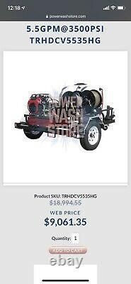 PRESSURE WASHER with CUSTOM 5 X 8 TRAILER & HONDA GX 630 ENGINE