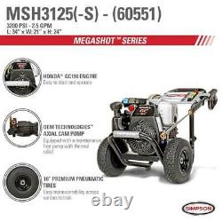 Simpson Cleaning MegaShot Gas Pressure Washer Powered by Honda GC190, 60551R-NR