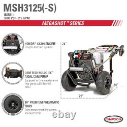 Simpson MSH3125 3200 PSI at 2.5 GPM gas pressure washer powered by HONDA GC190