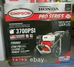 Simpson PS60982 3700psi 2.5gpm Honda GX200 Engine Pressure Washer BRAND NEW