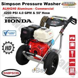 Simpson 4200 Psi Pression Commerciale Laveuse Honda Gx390 Moteur 50' Tuyau Alh4240